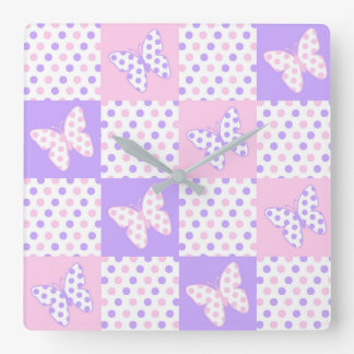 Lavender Purple Pink Butterfly Polka Dot Quilt Square Wall Clock