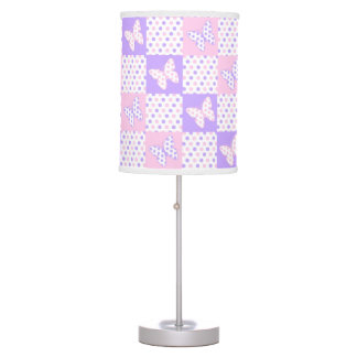 Lavender Purple Pink Butterfly Polka Dot Quilt Table Lamp