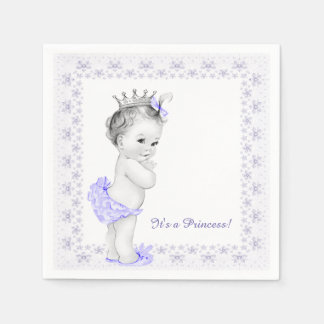 Lavender Purple Princess Baby Shower Napkin