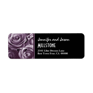 Lavender Purple Roses Modern Lettering Return Address Label