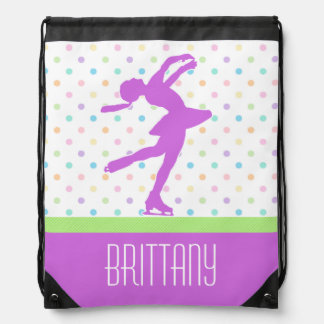 Lavender Purple Skater Bright Pastel Polka-Dots Drawstring Bag