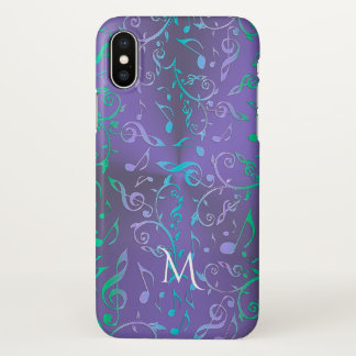 Lavender Purple w Green Blue Music Notes Monogram iPhone X Case