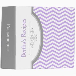 Lavender purple, white chevron with frame recipe vinyl binders