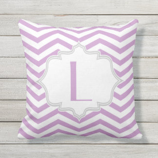 Lavender purple, white chevron zigzag pattern outdoor pillow