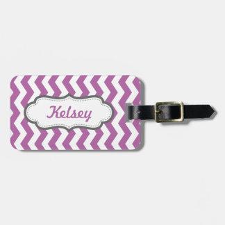 Lavender Purple Zigzag Personalized Luggage Tag