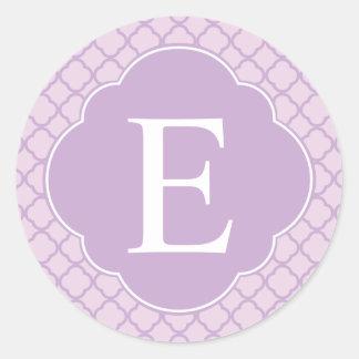 Lavender Quatrefoil Custom Monogram Classic Round Sticker