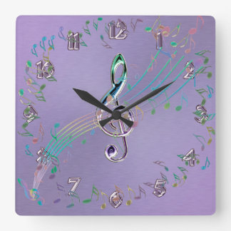 Lavender Rainbow Glass Music Notes and Clef Clock