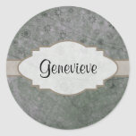 Lavender Retro Floral Abstract Nameplate Round Sticker