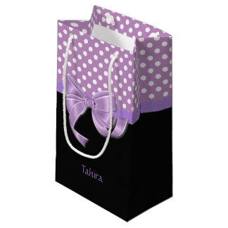 Lavender Ribbon and Polka Dots Small Gift Bag