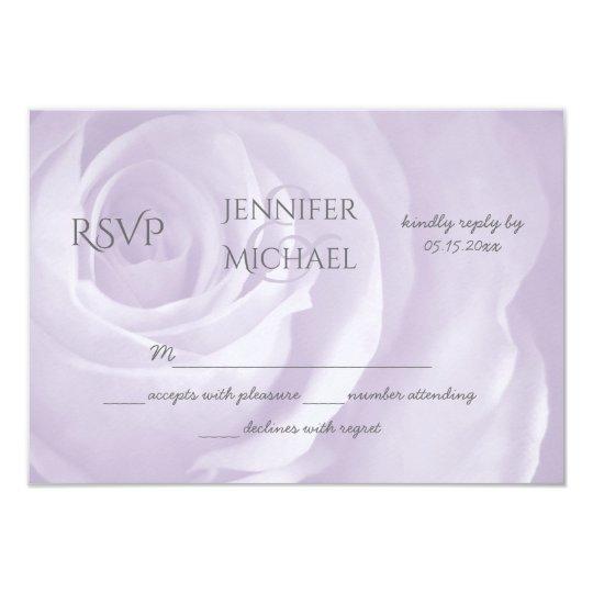 """lavender rose floral simple elegant wedding RSVP 3.5"""" X 5"""" Invitation Card"""