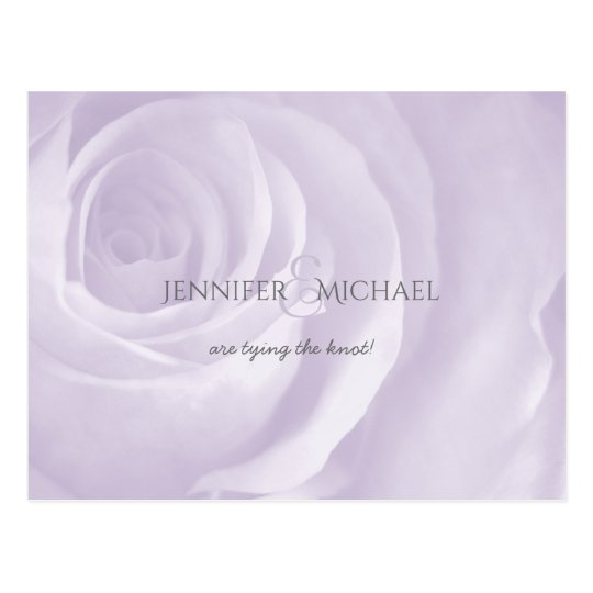 lavender rose simple elegant wedding save the date postcard
