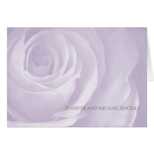 lavender rose simple elegant wedding thank you note card