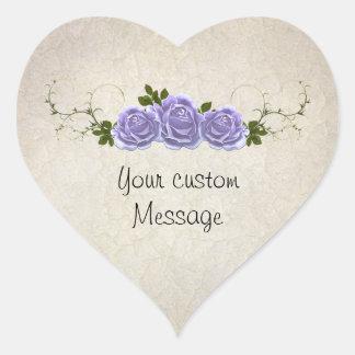 Lavender Roses on Ivory Customizable Heart Sticker