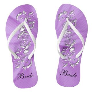 Lavender Satin & Silver Ornate Design | Bride Flip Flops