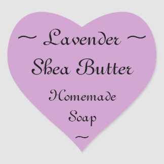 Lavender Shea Butter Soap Label Heart Sticker