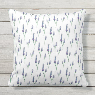 Lavender Sprigs, Purple Outdoor Pillow