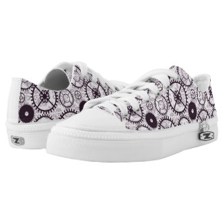 lavender Steampunk watch gear and damask pattern Low-Top Sneakers