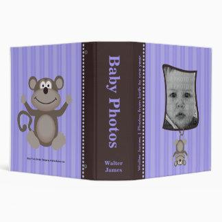 Lavender Stripe Baby Photo Album with Monkey 3 Ring Binder