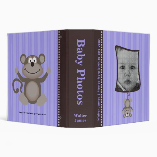 Lavender Stripe Baby Photo Album with Monkey Vinyl Binder