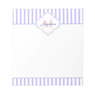 Lavender Stripe Peach Monogram Notepad