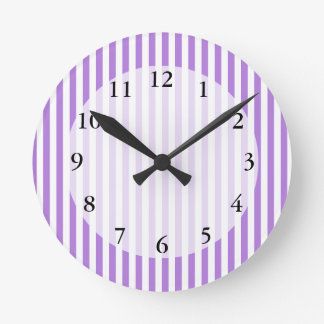 Lavender Striped Pattern Round Clock