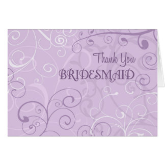 Lavender Swirls Thank You Bridesmaid Card