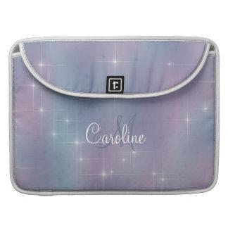 Lavender Teal Mauve Nebula Sparkle Monogram Sleeve For MacBook Pro