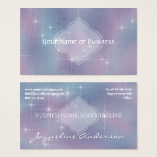 Lavender Teal Mauve Sparkle Nebula Business Card