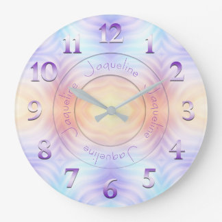 Lavender Teal Yellow Orange Geometric with Name Large Clock