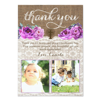 Lavender thank you card with Holy Cross two photos