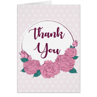 Lavender Thank You Purple Pink Rose Flower Hearts Card