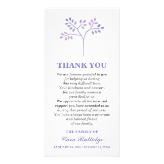 Lavender Tree Memorial Service Thank You Photo Card