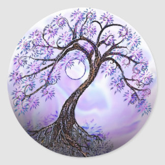 Lavender Tree of Life Rev 2. Classic Round Sticker