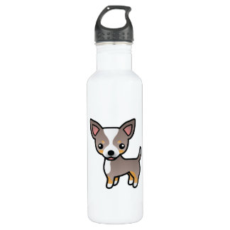 Lavender Tricolor Smooth Coat Chihuahua Dog 710 Ml Water Bottle