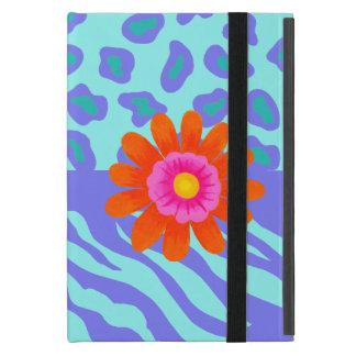 Lavender & Turquoise Zebra & Cheetah Orange Flower Covers For iPad Mini
