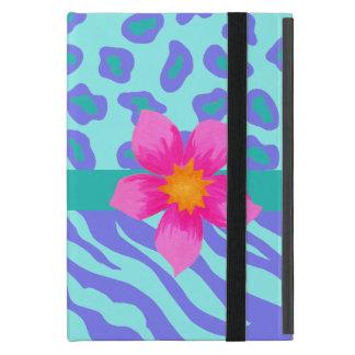 Lavender & Turquoise Zebra & Cheetah Pink Flower Covers For iPad Mini