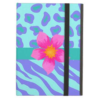 Lavender & Turquoise Zebra & Cheetah Pink Flower iPad Air Cover