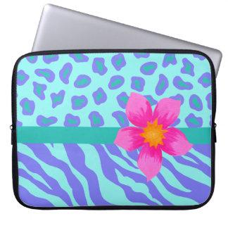 Lavender & Turquoise Zebra & Cheetah Pink Flower Laptop Computer Sleeves