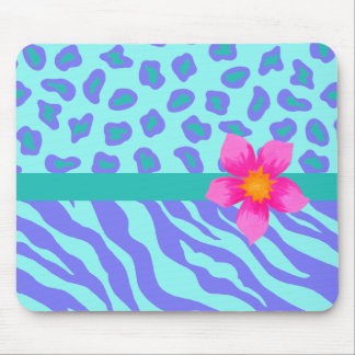 Lavender & Turquoise Zebra & Cheetah Pink Flower Mouse Pad