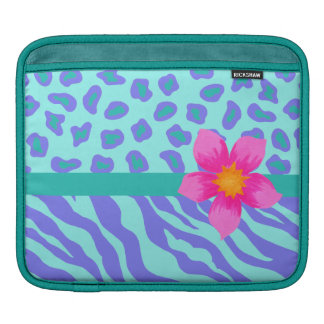 Lavender & Turquoise Zebra & Cheetah Pink Flower Sleeves For iPads