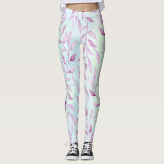 Lavender vines leaves pale blue purple leggings