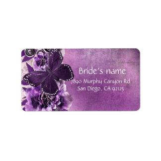 Lavender Vintage Damask Butterfly Address Label