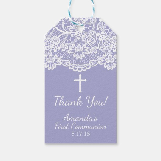 Lavender Vintage Lace First Communion Gift Tag