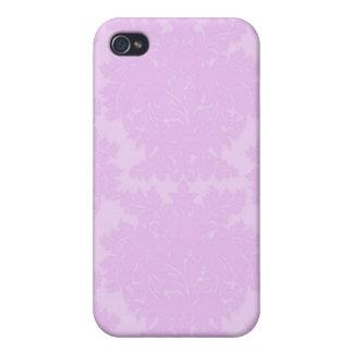 Lavender Violet Damask i iPhone 4 Cases
