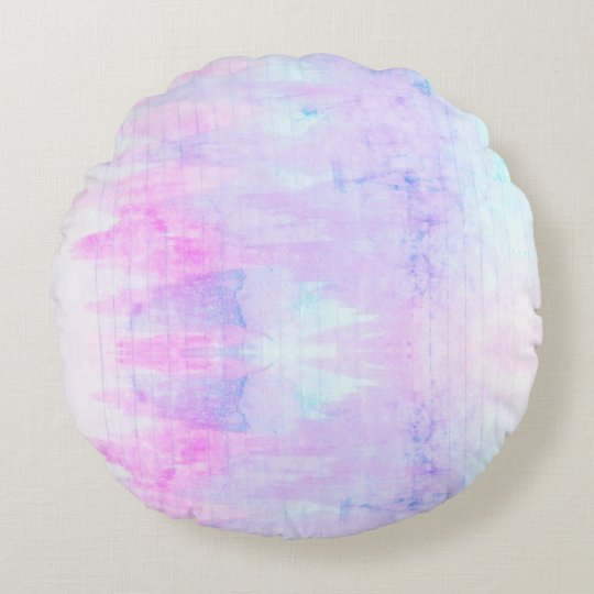 Lavender Watercolor Boho Lines Purple Round Pillow