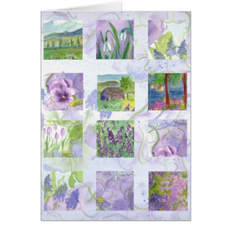 Lavender Watercolor Flower Painting Collage Card