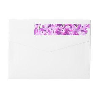 Lavender Watercolor Flowers Wedding Modern Wraparound Return Address Label