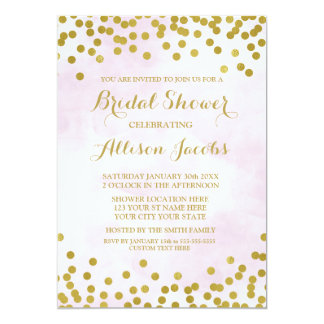 Lavender Watercolor Gold Confetti Bridal Shower Card
