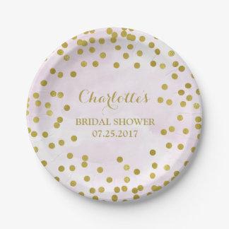 Lavender Watercolor Gold Confetti Bridal Shower Paper Plate
