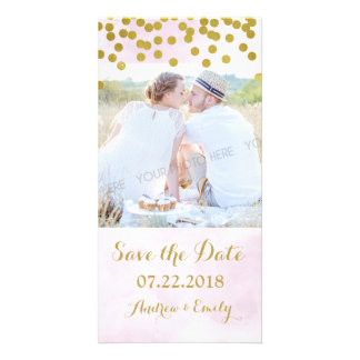 Lavender Watercolor Gold Confetti Save the Date Card